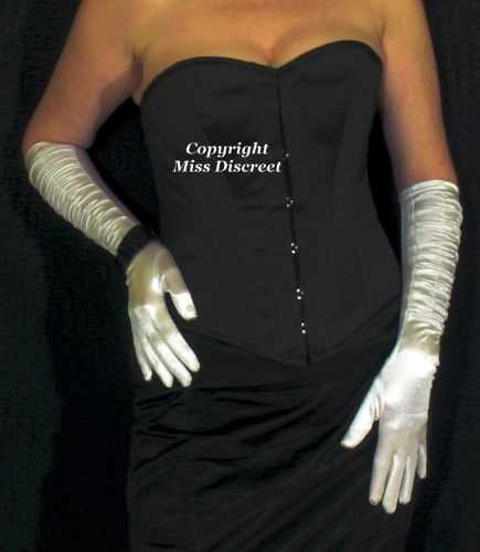 "Playgirl London Black Steel Boned Overbust Corset In Duchess Satin  - To suit 23/24"" Waist"